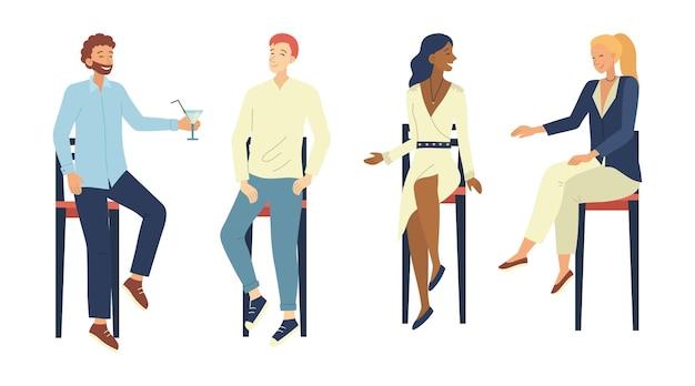 Concetto di comunicazioni di persone. gruppo di persone si divertono a comunicare seduti sulle sedie da bar. caratteri maschii e femminili che parlano, bevendo cocktail alcolici. illustrazione di vettore piatto del fumetto.