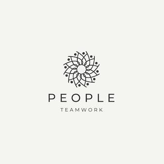 Persone comunità lavoro di squadra diversità logo icona modello di progettazione piatto vettore illustrazione