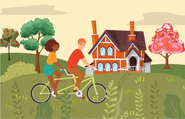 Composizione di persone, coppia in sella a bici insieme, attività sportiva, vita sana, illustrazione di stile. parco all'aperto, bicicletta per due, viaggio attivo, veicoli di trasporto.