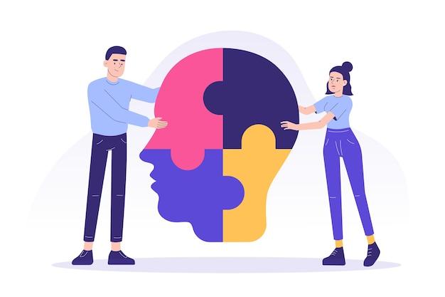 Persone che collegano pezzi di puzzle colorati di una grande testa