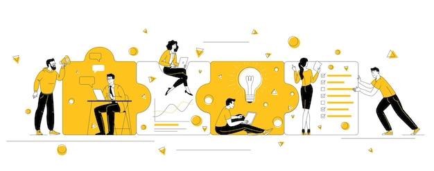 Persone che collegano gli elementi del puzzle. squadra di affari di design piatto, partnership e cooperazione concetto di vettore di design piatto.