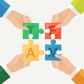 Persone che collegano elementi di puzzle. metafora del lavoro di squadra, cooperazione, partnership. concetto di affari