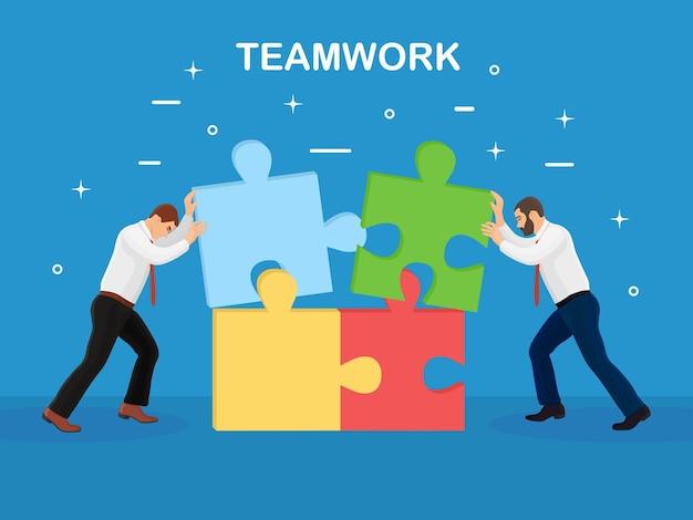 Persone che collegano elementi di puzzle. lavoro di squadra, concetto di partnership