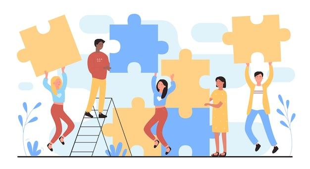 Persone che collegano i puzzle insieme. costruzione del lavoro di squadra, concetto di partnership di successo