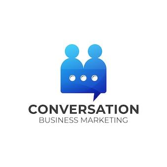 Logo di conversazione di persone, marketing, design del logo di servizio, modello