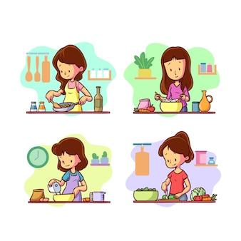 Collezione di cucina persone