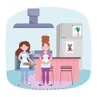 Persone che cucinano, ragazze con pane e pasticceria in cucina