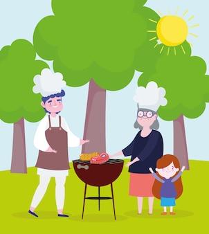 Persone che cucinano picnic all'aperto. stile cartone animato
