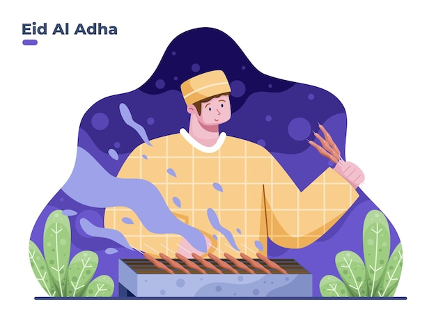 Le persone che cucinano sate cibo tradizionale indonesiano mentre eid al adha vector flat illustration