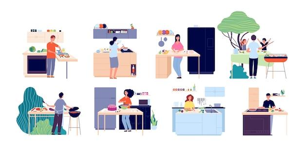 Persone che cucinano. donna che prepara insalata, cucina e mangiare all'aperto. uomini donne cenano, mangiano cibo e cuociono. illustrazione vettoriale culinaria felice. cucina cucina, cene culinarie, preparazioni fatte in casa