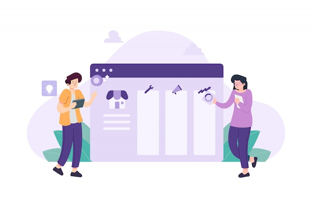Persone che creano l'illustrazione di design piatto della pagina di destinazione
