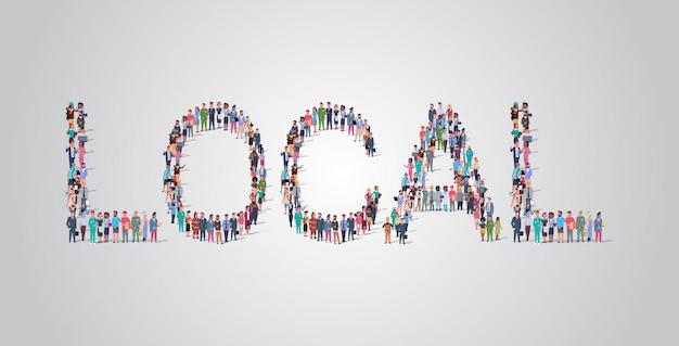 La gente si raduna a forma di parola locale