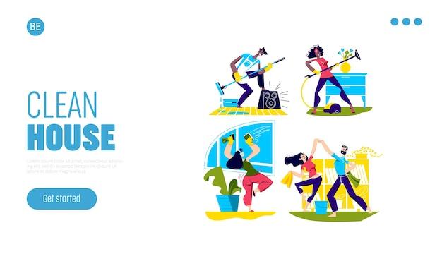 Le persone ballano le pulizie di casa. pagina di destinazione per le pulizie e il concetto di economia domestica.