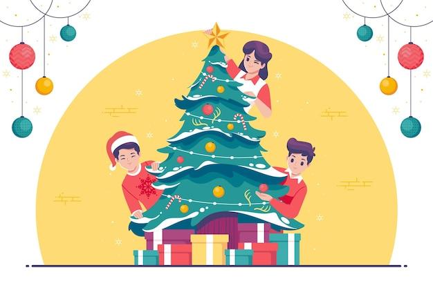 Persone che decorano il fondo dell'illustrazione dell'albero di natale