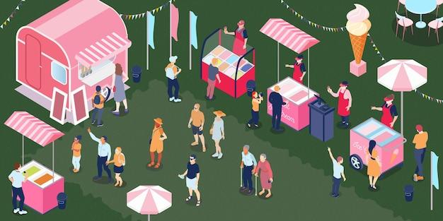 Persone di età diverse che camminano e comprano il gelato al bar all'aperto della stalla del carrello 3d isometrico