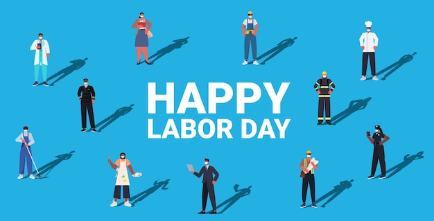 Persone di diverse professioni che celebrano la festa del lavoro mescolano lavoratori razziali che indossano maschere