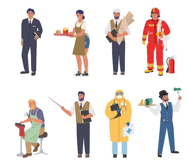 Persone di diverse occupazioni e professioni lavoratori in uniforme personaggio dei cartoni animati set piatto vettoriale...