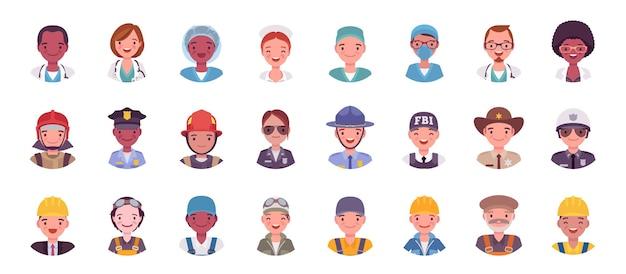 Persone in diverse professioni avatar grande set di bundle