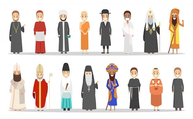 Set di persone di diversa religione. Vettore Premium