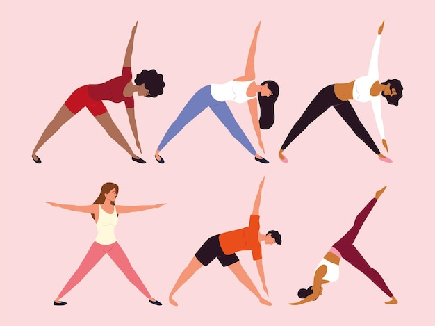 Persone diverse posizioni yoga esercizi
