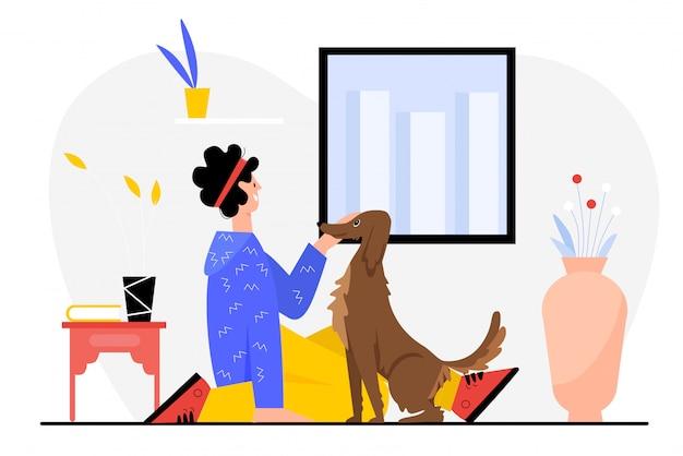Persone e illustrazione del cane. carattere del proprietario dell'uomo felice del fumetto che si siede sul pavimento accanto al proprio cagnolino divertente, trascorrendo del tempo divertente con il proprio amico animale insieme, amicizia animale domestico su bianco