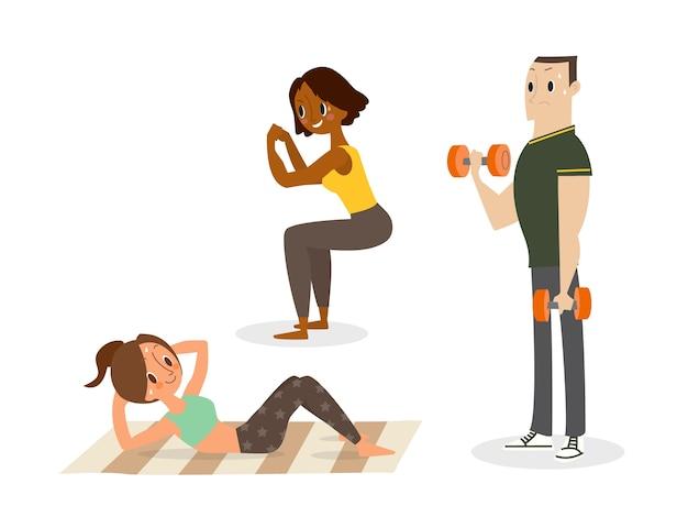 Persone che fanno allenamento con il peso corporeo, si siedono, squat, esercizi con manubri.