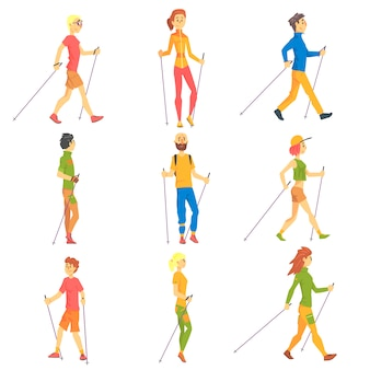 Persone che fanno nordic walk all'aperto serie di illustrazioni