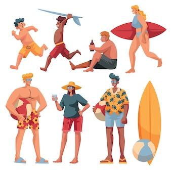 Raccolta di set di persone che fanno cose in vacanza in spiaggia