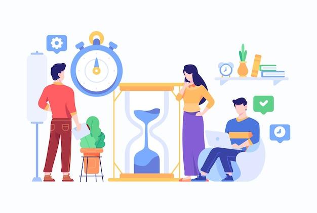 Persone che fanno lavoro tempo pianificazione gestione concetto stile piatto design illustrazione