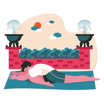 Persone che fanno yoga asana concetto di scena. l'uomo esegue semi spago. allenamento sportivo, cura del corpo e della salute, sviluppo fisico, attività delle persone. illustrazione vettoriale di personaggi in design piatto
