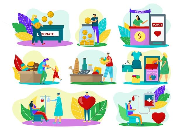 Persone donano insieme, isolato su bianco illustrazione vettoriale. il personaggio della donna dell'uomo aiuta le persone, fa una donazione piatta con denaro, sangue, giocattoli,