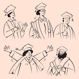 Scarabocchi di persone celebrano la laurea. illustrazione disegnata a mano del fumetto per istruzione