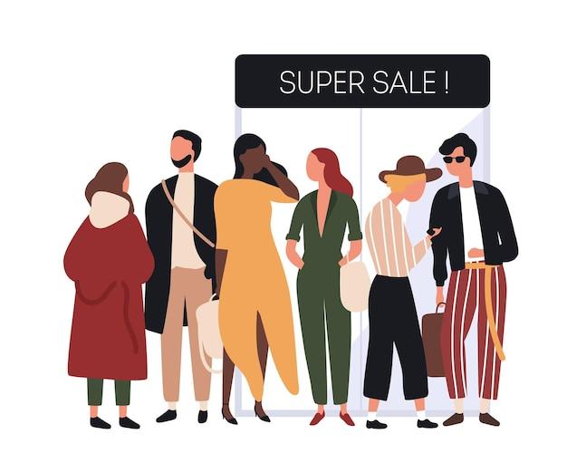 Persone vestite con abiti alla moda in fila o in coda vicino alle porte d'ingresso del negozio. uomini e donne in abiti alla moda in attesa dell'apertura del negozio e dell'inizio dei saldi. illustrazione di vettore del fumetto piatto.