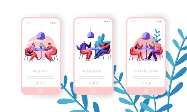 La gente beve il caffè insieme dello schermo a bordo della pagina dell'app mobile. uomo e donna che parlano al tavolo del bar. concetto di pranzo di lavoro per il sito web o la pagina web della caffetteria. illustrazione di vettore del fumetto piatto