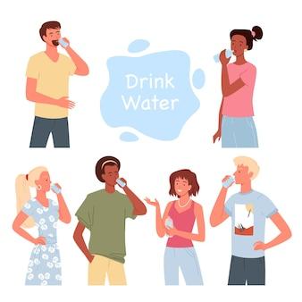 La gente beve l'insieme dell'illustrazione di vettore dell'acqua. cartone animato uomo barbuto e ragazzo che tiene il bicchiere, bella donna in piedi con una bottiglia d'acqua, ragazza in abiti casual che beve e sorride isolata su bianco