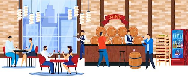 La gente beve l'illustrazione di vettore del vino.