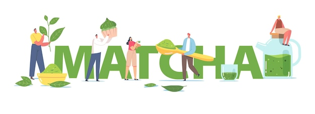 Persone che bevono il tè matcha concept. piccoli personaggi maschili e femminili che utilizzano foglie di tè verde e polvere per cucinare bevande sane e poster, striscioni o volantini da forno. fumetto illustrazione vettoriale