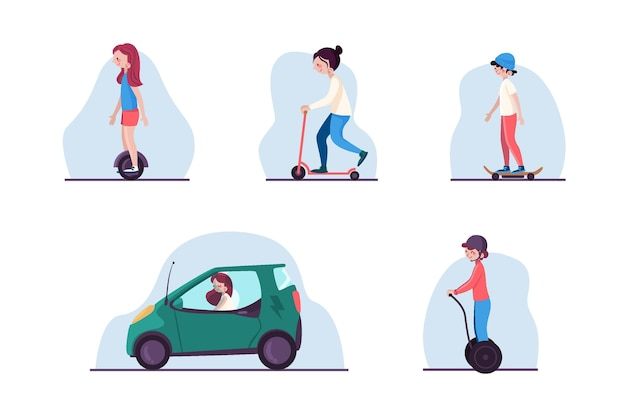 Persone che guidano il pacchetto di trasporto elettrico