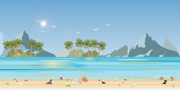 La gente che scarica immondizia e imbottiglia le materie plastiche nella spiaggia, illustrazione.