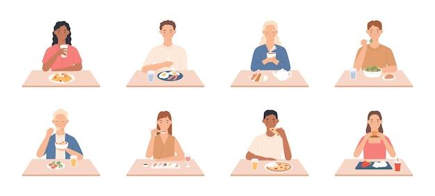 La gente mangia. uomini e donne che mangiano pasti deliziosi, gli amici si siedono a tavola al ristorante, al bar e mangiano diversi set di vettori gustosi. donna e uomo che mangiano cibo, delizioso pranzo o cena illustrazione