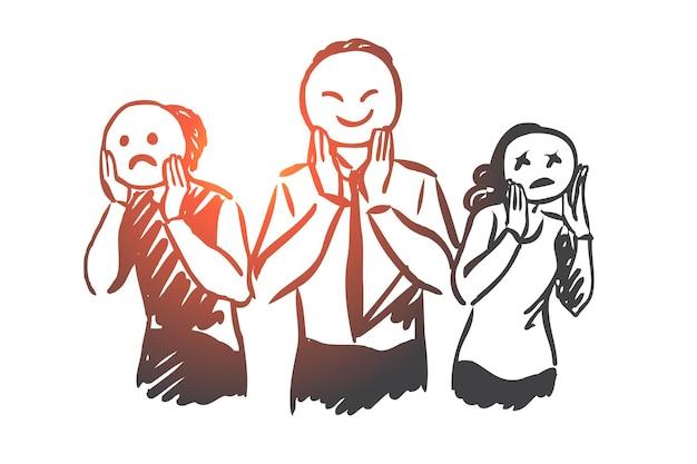 Persone, emozioni, maschera, viso, concetto di umore. schizzo di concetto di diverse emozioni umane disegnato a mano.