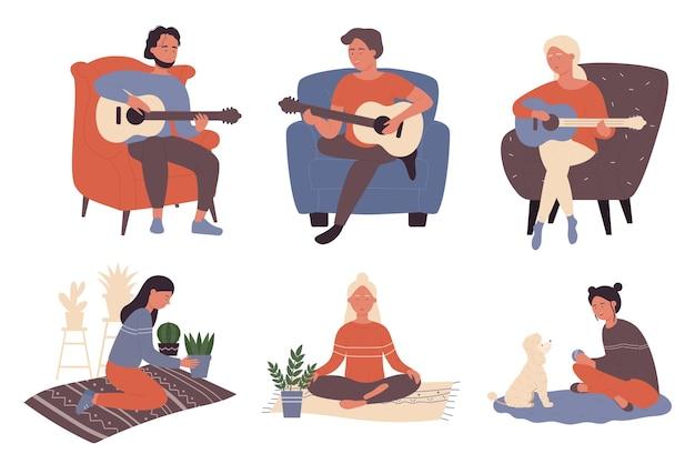 Le persone godono del tempo a casa set musicista suonare la chitarra uomo e donna che giocano con il cane