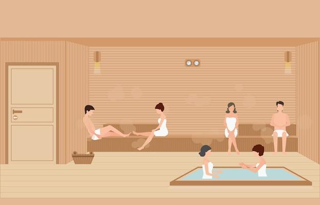 Le persone si godono nella sauna a vapore