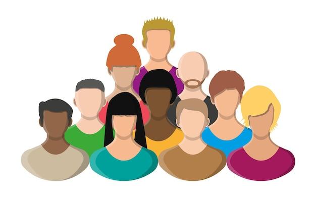 La gente affronta, l'icona dell'avatar, il personaggio dei cartoni animati a colori. maschio e femmina. illustrazione vettoriale in stile piatto