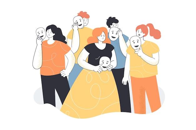 Illustrazione di persone che fingono emozioni