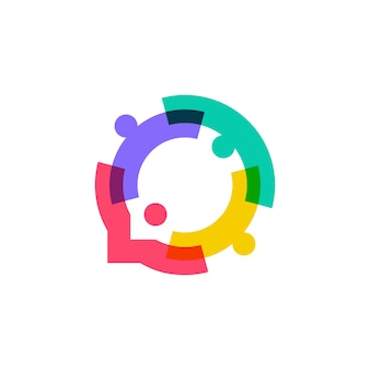 La gente della famiglia insieme logo della bolla di chiacchierata di unità umana