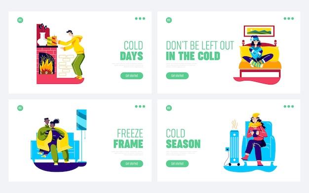 Le persone hanno freddo a casa. set di pagine di destinazione con personaggi dei cartoni animati