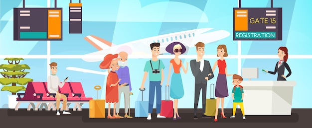 Persone in linea di registrazione del volo passeggeri felici in piedi in coda personale dell'aeroporto che controlla i biglietti