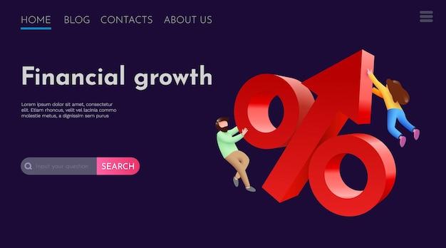 Le persone volano intorno al modello di pagina di destinazione del sito web di successo finanziario e di profitto dell'investimento freccia crescente