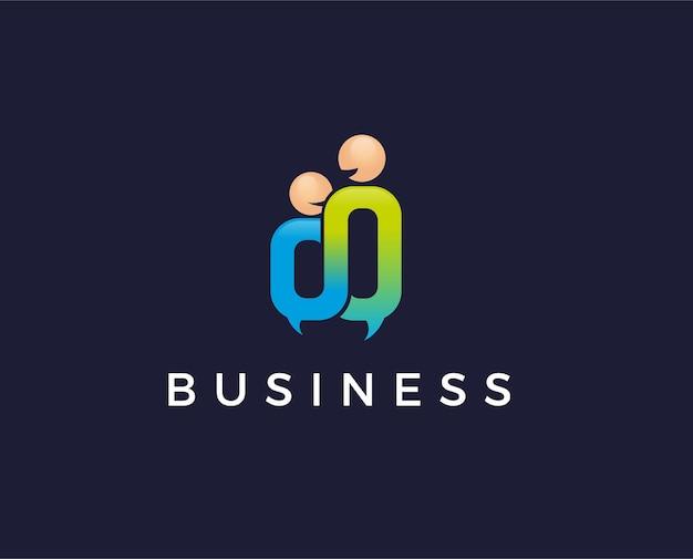People forum, community, comunicazione, tecnologia, linea, social. modello di logo vettoriale